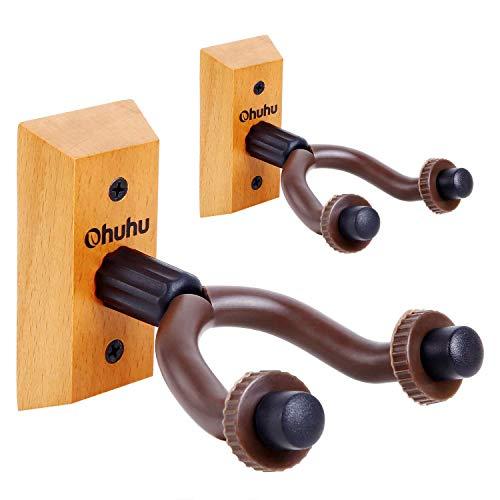 Ohuhu® Gitarrenwandhalter, Hartholz Gitarre Haken Für Studio,Gitarrenhalter Für klassische Gitarre, E-Gitarre, Bass