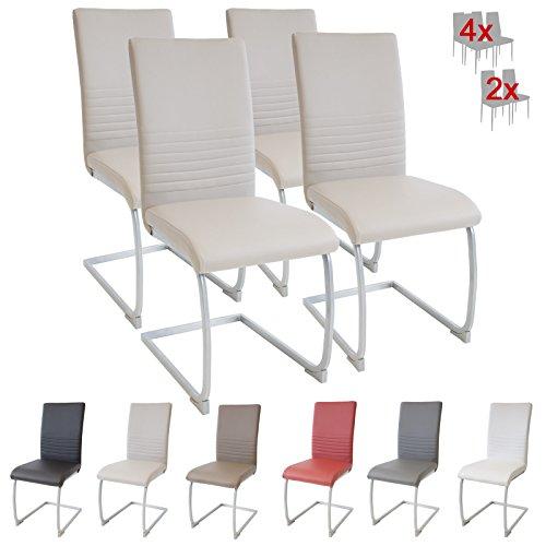 Albatros MURANO - Set di 4 sedie cantilever imbottite, con certificazione SGS, colore: Beige