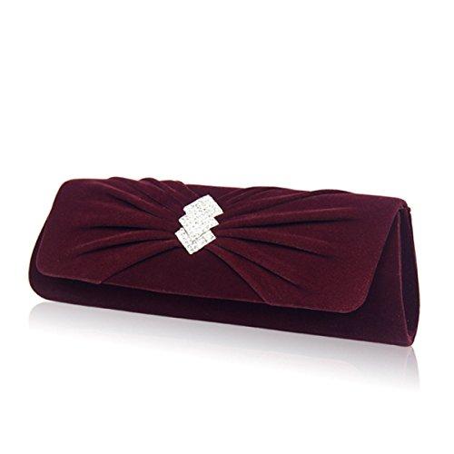 Damen Clutch Bag Velour Abendtasche Wild Diamond Nicht Down Cashmere Damen Taschen Fuchsia