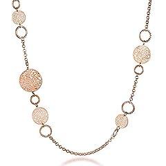 Idea Regalo - Collana lunga per donna, collana a catena albero della vita per bambina Collana in oro rosa o argento con cristallo (Oro rosa)