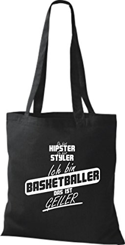 Shirtstown Stoffbeutel du bist hipster du bist styler ich bin Basketballer das ist geiler schwarz