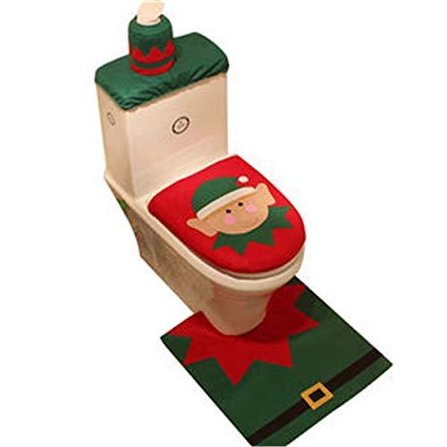 Tcrizhao Rutschfester Badezimmer-Fußhocker Happy Santa WC-Sitz Deckel Cover + Teppich + Tank Cover Badezimmer Set Weihnachtsdekoration - Schneemann Für Kinder alte Leute (Size : Style 01)