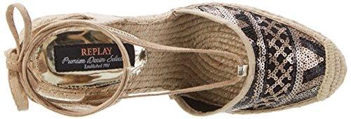 REPLAY Cherna, Scarpe Col Tacco con Cinturino a T Donna Beige (Bronze Beige)