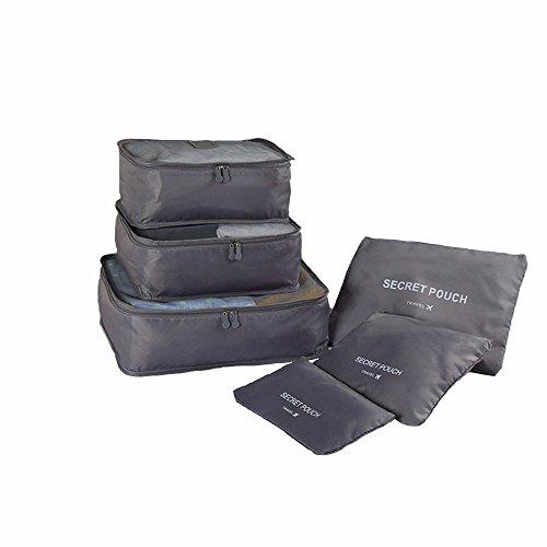 Organizador para Maleta, Blueidea® 6pcs/set Impermeable Bolsas de Viaje Organizador Equipaje Hombres Mujer Bolso del Embalaje Asistente Caso de Viajes (Grigio)