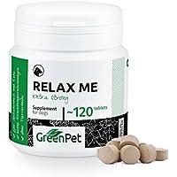 GreenPet Neu! Relax Me 120 Tabletten - Extra Stark- für Hunde - Bei Angst- und Stress Situationen - zur Beruhigung und Entspannung - Eine Kombination aus Baldrian und Johanniskraut - Made in Germany