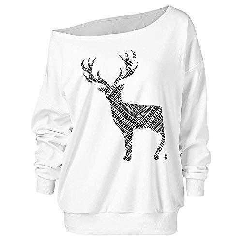 MEIbax Damen Weihnachten Langarm Wapiti Bluse Sweatshirt Pullover Casual Shirt Oberteile Tops
