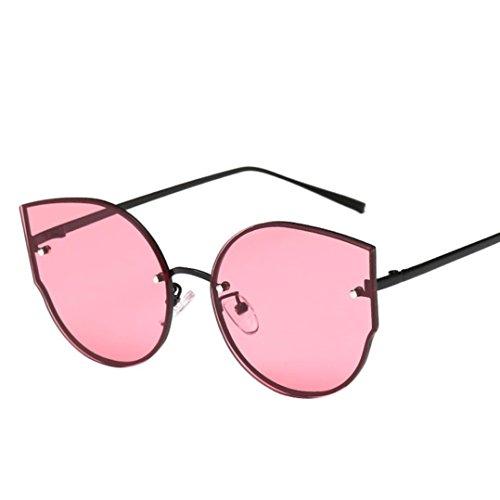 OverDose Unisex Stylish Vintage Classic Metallrahmen Sonnenbrille Katzenaugen Brille Reflektierenden Spiegel (Rot) Rot Gucci Frames