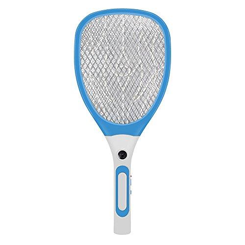 Towinle Elektrische Moskito Fliegenklatsche Fliegenfänger Zapper USB wiederaufladbar 3-Schicht Sicherheitsgitter und Ultra-Helle LED (Blau)