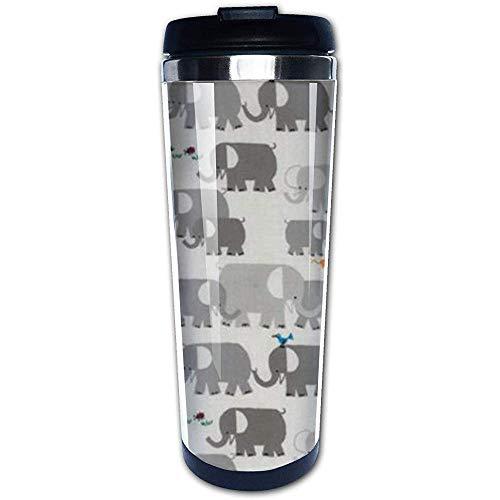 Happy Drawing Elefantes orgánicos Taza de viaje y camping de acero inoxidable con aislamiento de 14 oz para cerveza, cócteles, café y té con tapa a prueba de salpicaduras para hombres y mujeres