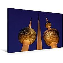 Premium Textil-Leinwand 75 cm x 50 cm quer, Ein Motiv aus dem Kalender Kuwait, Stadt am Golf | Wandbild, Bild auf Keilrahmen, Fertigbild auf echter ... Kuwaits Wassertürme (CALVENDO Orte)
