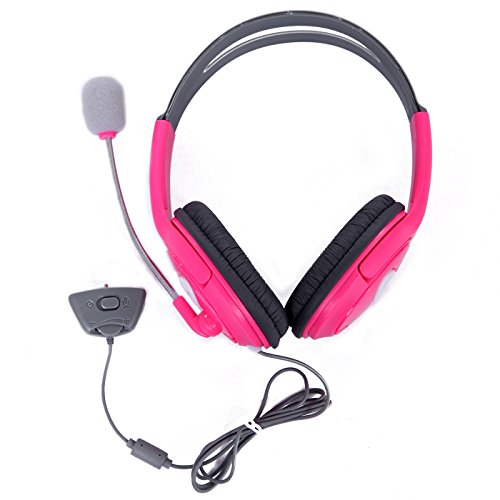 Price comparison product image HDE Xbox 360 Headset Game Chat Xbox Live Headphone with Microphone (Pink)