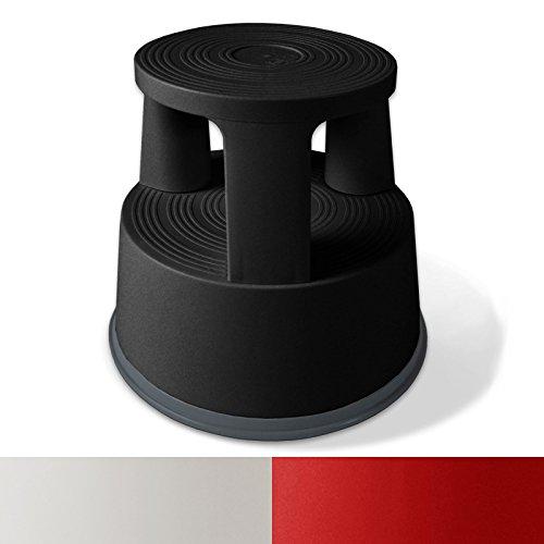 Rollhocker  Arbeitshocker | TÜV- und GS-geprüft | Elefantenfuß | Kunststoff | Tritthocker mit Rollen | 3 Farben (Schwarz)