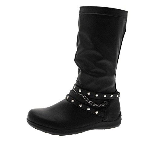 Bottes hautes - faux cuir - fleurs/élastiques/chaînes - fille - noir Noir avec Rivet et Chaîne