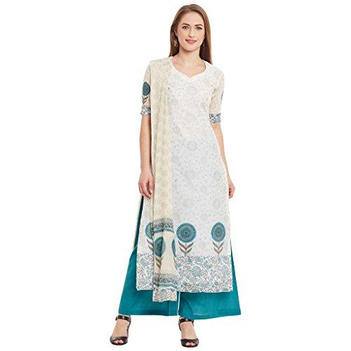 Dress Material by Pinkshink | Off-White & Blue Kota Cotton Floral Print...