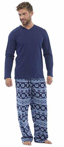 Herren 2STÜCK Luxus voller Länge Pyjama Set Warm Winter Thermo-/Jersey-Top Luxus Flanell Lounge Hose Gents Jungen Pyjama Pj 's Geschenk Größe S-XXL Gr. L, Blau - Blue Patterned (Für Dress Up Männer)