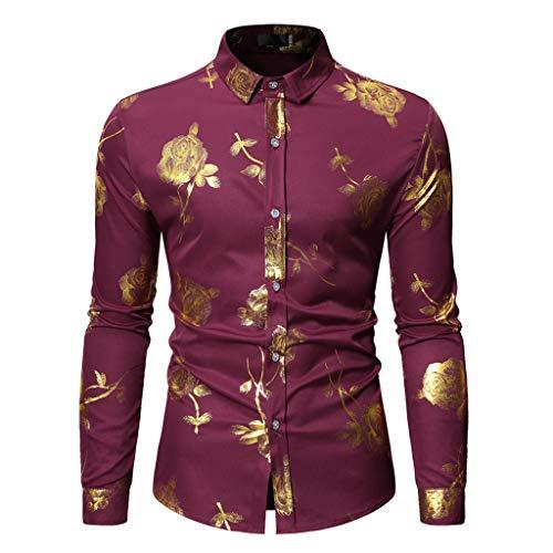 YUHUISTART Gestreiftes Hemd Slim Freizeithemden Anzugjacken Hemd Blume Malerei Large Size Butterfly Casual Top Bluse Shirts (Kurt Cobain Kostüm Shirt)