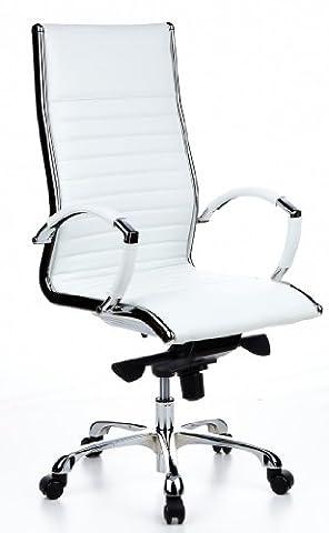 hjh OFFICE 660510 chaise de bureau, fauteuil de direction PARMA 20 blanc en cuir véritable pour un usage intensif, avec accoudoirs en acier chromé, dossier haut et inclinable, piètement en alu