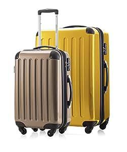 2er Kofferset Handgepäck + Reisekoffer in verschiedenen Farben von HAUPTSTADTKOFFER Ⓡ (Gelb 119L, Champagner 42 L)