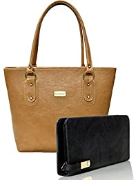 SALEBOX Women's Top Handle Leather Handbag (Tan) With Black Wallet Combo Pack Of Two