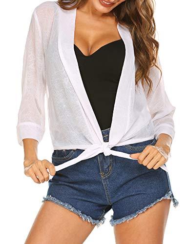 Trudge Damen Bolero Chiffon Jacke Blazer Top Kurz Cardigan zum Knoten 3/4 àrmel Sommer Cover Up Beachwear, Weiß, EU 42(Herstellergröße:XL) Kurze Jacke