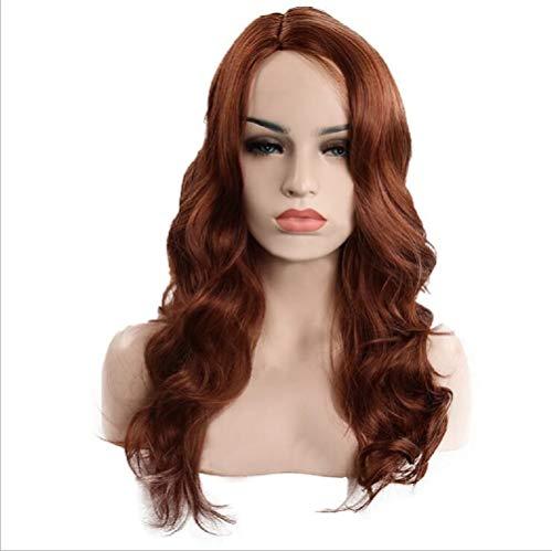 (Wig Dame realistisch, mittellang lockig Haare, Haare gesetzt braun)