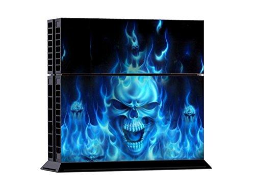 PlayStation 4 - Kit de skins (fundas adhesivas) para consola + 2 mandos de control – Blue Fire Skull