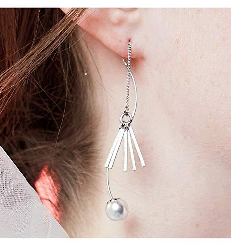 LXD Exquisite asymmetrische Harajuku Persönlichkeit Ohrringe, weibliche lange Student Ohrringe, Fringe Ohrringe, Kore Fashion Ohrstecker, Silber, Einheitsgrösse -