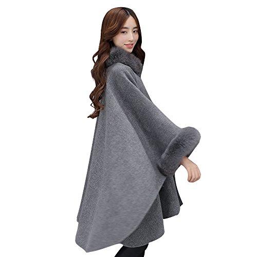 GHEMD Ghemdilmn Wolle Winter Mantel Frauen Kragen Parka Cape Mantel Poncho Lange Overcoat
