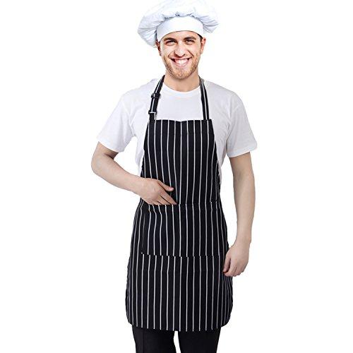Preisvergleich Produktbild Trixes Professionelle Küchenschürze Schwarz und weiß Gestreift - Koch schürze