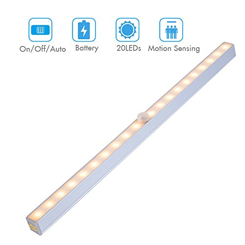 Rechargeable Motion Sensor Wardrobe Light, Wireless PIR 18 LEDs Night Light Lighting Bar – Stick-on Anywhere, for Corridor Stairway Kitchen Cabinet Closet Drawer Under Counter Cupboard(Warm White)