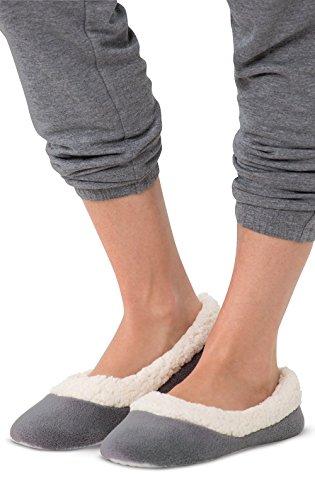 PajamaGram - Damen Hausschuhe - superweicher Fleece - Dunkelgrau - 38-39