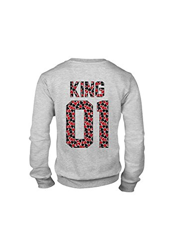 KING & QUEEN - SWEAT COL ROND KING 01 - Poker King Gris