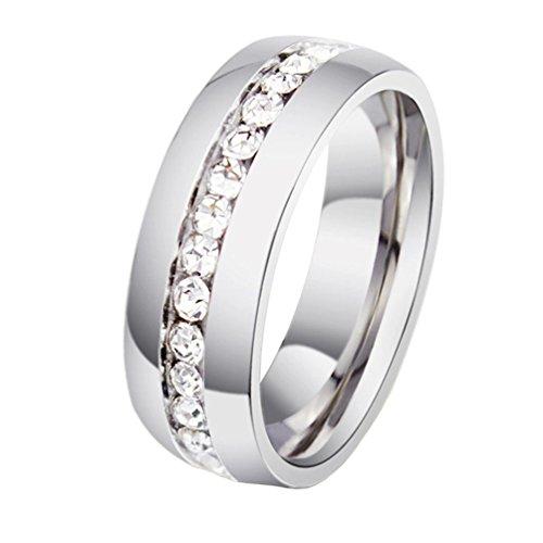 Hijones gioielli donne acciaio inossidabile singola fila diamante anello taglia 17 (argento)