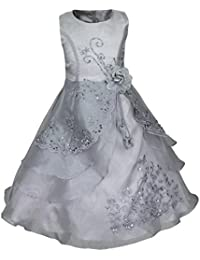 Eagsouni Girls Flower Embroidered Dress Princess Layered Formal Wedding  Party Bridesmaid Prom Ball Gown Dresses d29e18b29058