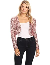 Anna-Kaci Womens Shiny Sequin Long Sleeve Cropped Blazer Bolero Shrug 1ec5cbae9755