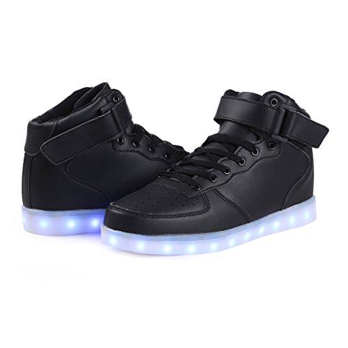SAGUARO® Homme Femme Chaussure à Led Lumineuse 7 Couleur USB Charge Chaussure de Sports Baskets Noir AAA