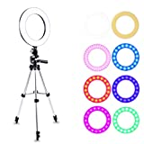 LED Ring Light, Atuten 10 pollici Dimmerabile Luce LED ad Anello il con Stativo, Braccetto Flessibile, Adattatore Hotshoe per Smartphone Scattare Foto, Makeup, Youtube Blog Video, 16W, 3200K-7000K