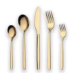Idea Regalo - Set di posate placcato oro 30 titanio Berglander, 30 posate Set di posate dorate, set di posate in argento, servizio per 6 (oro lucido)