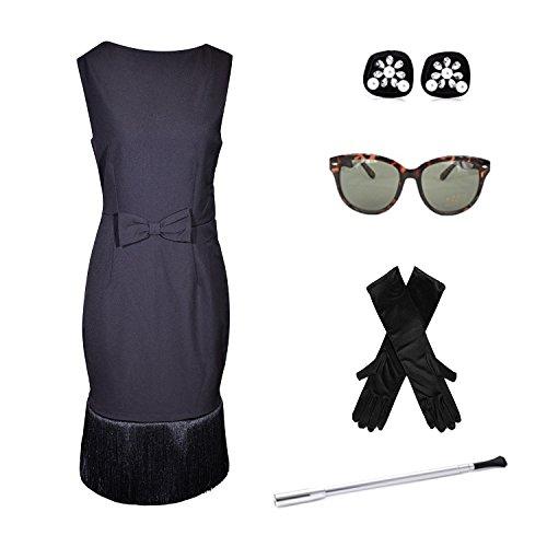 Premium Audrey Hepburn Set, Kleid, Hut, Schal, Handschuhe, Ohrringe und Zubehör (L)