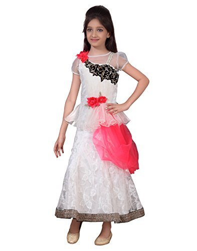 Basil Leaf Gw 2050 22 Off White Embroidered Girls Gown Best Price