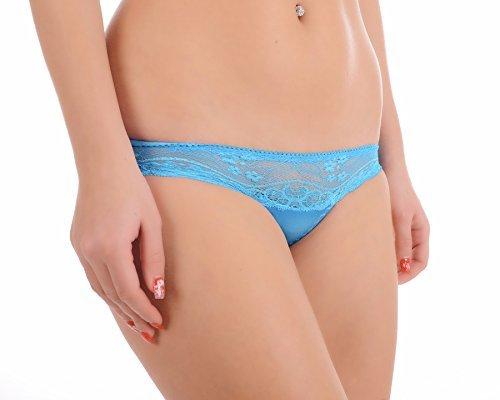 Satin Tanga String Spitzenhöschen Schlüpfer Unterhose Strings Unterwäsche Blau