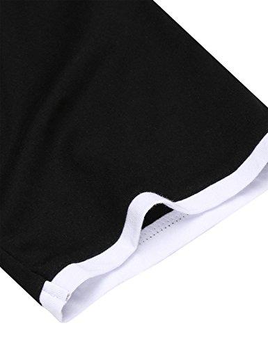 HOTOUCH Herren T-Shirt Casual Herrenshirts Kurzarm Basic Shirt mit Knopfleiste Kontarst Tee Typ1_Grau