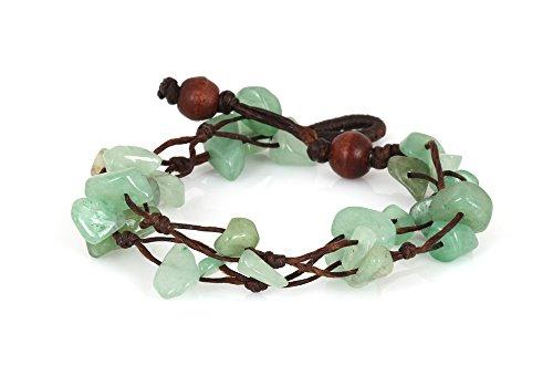 MGD - Grün Aventurin Perlen Armband - 2 Strang Armband - Edelstein Armband - Schöne Handgemachte Mode Schmuck für Damen - Kinder und Jugendliche - JB-0062B