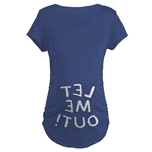 Highdas Frau Maternity Baby LET ME OUT Lustiges Print T-Shirt Top Blue