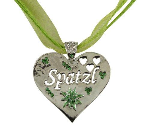 Trachtenschmuck Herz mit Kristallen Peridot grün – hochglanz poliert – Spatzl sowie Herzen...