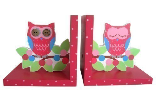 Sass & Belle Painted Wooden Owl & Branch Bookends