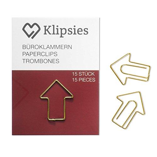 KLIPSIES Pfeil (Design wählbar) 15 Deko Büroklammern Motiv Heftklammern 1x15 Stück Gold