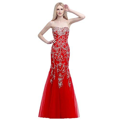 engerla Damen Sweetheart Pailletten Mantel Empire Meerjungfrau Abend Party Kleid Gr. 30, (Roten Length Floor Mantel)