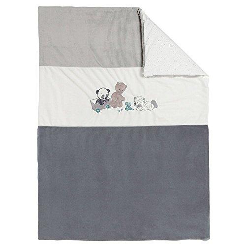 Nattou Couverture Bébé, Fille et Garçon, 135 x 100 cm, gris - Lea, Loulou et Hippolyte