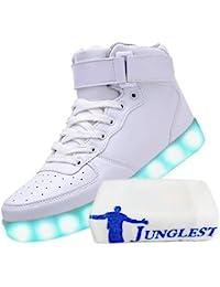 [Present:kleines Handtuch]Rot EU 42, JUNGLEST® High-Top für Damen Aufladen USB Schuhe weise Farbe Leuchtend Unisex-Erwachsene Sneaker 7 LED Turn